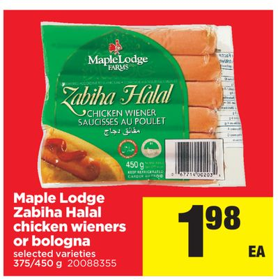 Maple Lodge Zabiha Halal Chicken Wieners Or Bologna.375/450 g