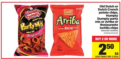 Old Dutch Or Dutch Crunch Potato Chips - Humpty Dumpty Party Mix Or Arriba Or Restaurante Tortilla Chips