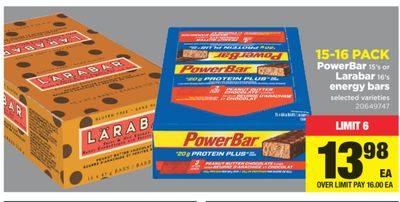 Powerbar 15's Or Larabar 16's Energy Bars - 15-16 Pack