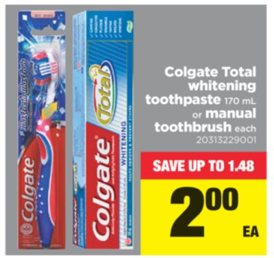 Colgate Total Whitening Toothpaste - 170 Ml Or Manual Toothbrush