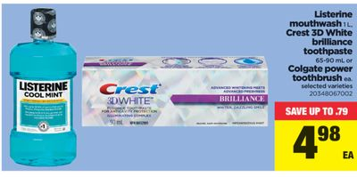 Listerine Mouthwash - 1 L - Crest 3D White Brilliance Toothpaste - 65-90 Ml Or Colgate Power Toothbrush Ea.