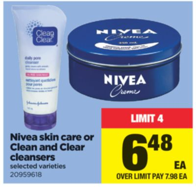 Nivea Skin Care Or Clean And Clear Cleansers