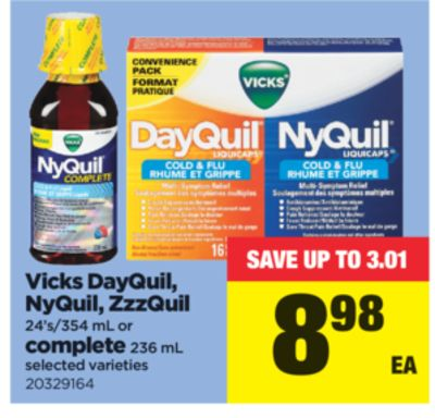 Vicks Dayquil - Nyquil - Zzzquil - 24's/354 Ml Or Complete - 236 Ml