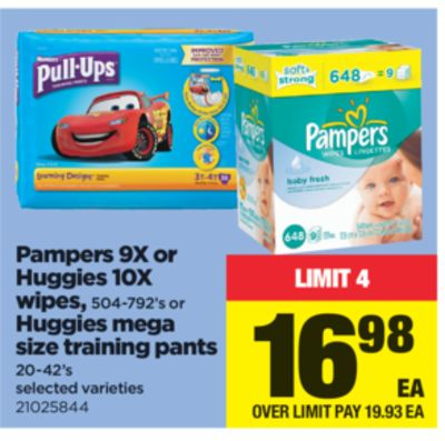 Pampers 9x Or Huggies 10x Wipes - 504-792's Or Huggies Mega Size Training Pants - 20-42's