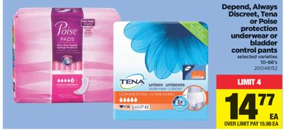 Depend - Always Discreet - Tena Or Poise Protection Underwear Or Bladder Control Pants - 10-66's