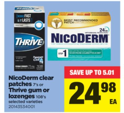 Nicoderm Clear Patches - 7's Or Thrive GUM Or Lozenges - 108's