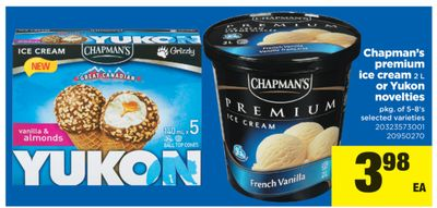 Chapman's Premium Ice Cream 2 L Or Yukon Novelties - Pkg of 5-8's