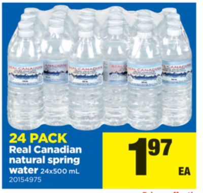 24 Pack Real Canadian Natural Spring Water - 24x500 mL