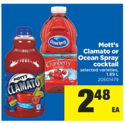 Mott's Clamato Or Ocean Spray Cocktail - 1.89 L