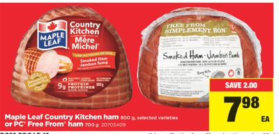 Maple Leaf Country Kitchen Ham 800 g or PC Free From Ham 700 g