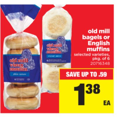 Old Mill Bagels Or English Muffins - Pkg of 6