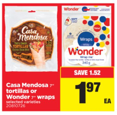 Casa Mendosa 7'' Tortillas Or Wonder 7in Wraps