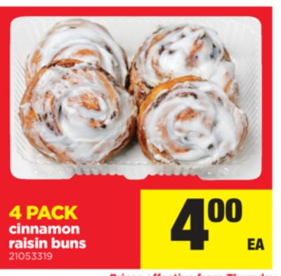 Cinnamon Raisin Buns - 4 Pack