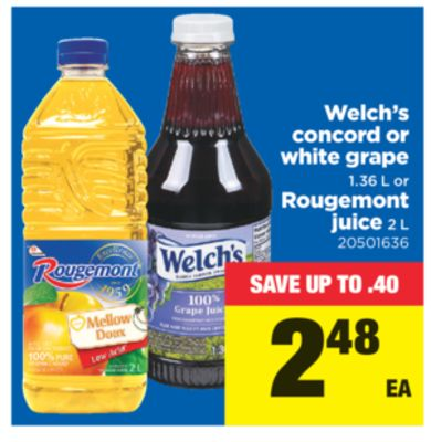 Welch's Concord Or White Grape 1.36 L Or Rougemont Juice 2 L