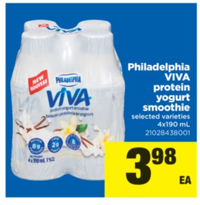 Philadelphia Viva Protein Yogurt Smoothie - 4x190 mL