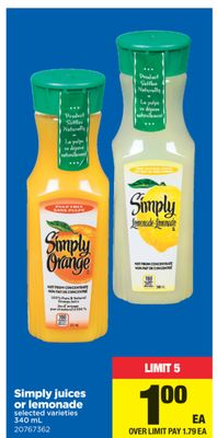 Simply Juices Or Lemonade - 340 mL