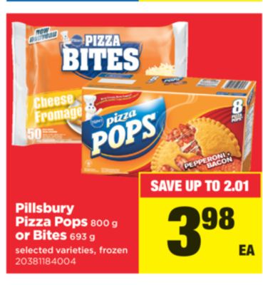 Pillsbury Pizza Pops 800 g Or Bites 693 g