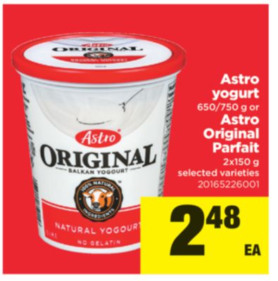 Astro Yogurt - 650/750 G Or Astro Original Parfait - 2x150 G