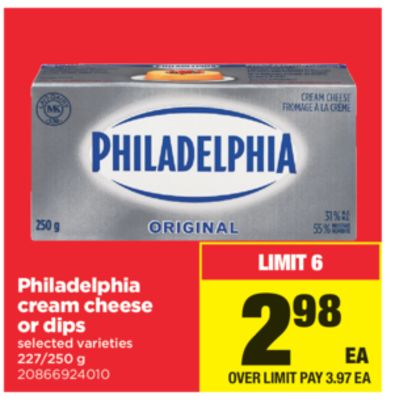 Philadelphia Cream Cheese Or Dips - 227/250 g