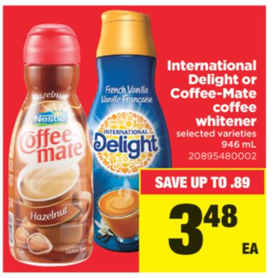 International Delight Or Coffee-mate Coffee Whitener - 946 mL