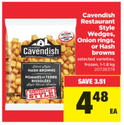 Cavendish Restaurant Style Wedges - Onion Rings - Or Hash Browns - 1-1.8 Kg