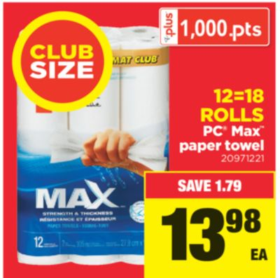PC Max Paper Towel - 12=18 Rolls