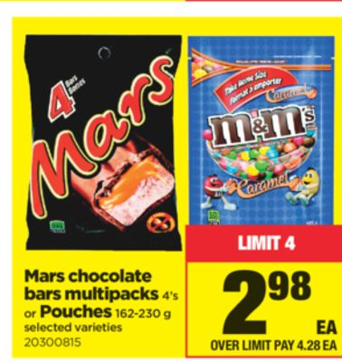 Mars Chocolate Bars Multipacks 4's Or Pouches 162-230 g