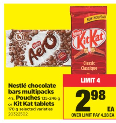 Nestlé Chocolate Bars Multipacks 4's - Pouches 135-246 G Or Kit Kat Tablets 170 G