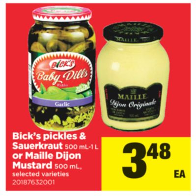 Bick's Pickles & Sauerkraut - 500 Ml-1 L Or Maille Dijon Mustard - 500 Ml