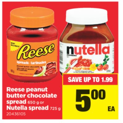 Reese Peanut Butter Chocolate Spread 650 G Or Nutella Spread 725 G