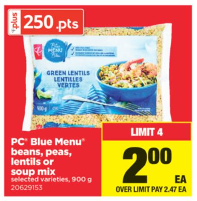 PC Blue Menu Beans - Peas - Lentils Or Soup Mix - 900 g