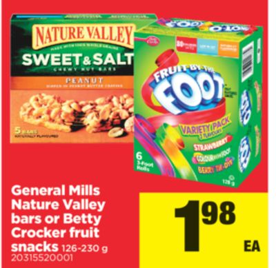 General Mills Nature Valley Bars Or Betty Crocker Fruit Snacks - 126-230 g