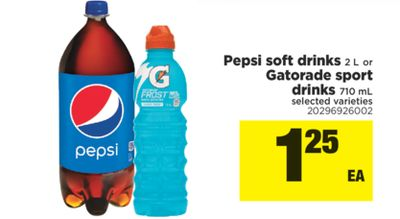Pepsi Soft Drinks 2 L Or Gatorade Sport Drinks 710 Ml