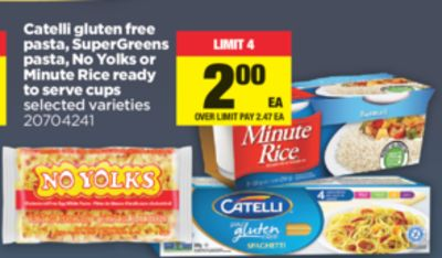 Catelli Gluten Free Pasta - Supergreens Pasta - No Yolks Or Minute Rice Ready To Serve Cups