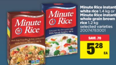 Minute Rice Instant White Rice - 1.4 Kg Or Minute Rice Instant Whole Grain Brown Rice - 1.2 Kg