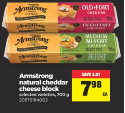 Armstrong Natural Cheddar Cheese Block - 700 g