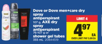 Dove Or Dove Men+care Dry Spray Antiperspirant 107 G - Axe Dry Spray Antiperspirant 76-107 G Or Shower Gel Tubes 355 Ml