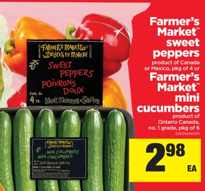 Farmer's Market Sweet Peppers - Pkg Of 4 Or Farmer's Market Mini Cucumbers - Pkg Of 6
