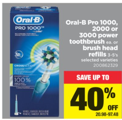 Oral-b Pro 1000 - 2000 Or 3000 Power Toothbrush Or Brush Head Refills 3-5's
