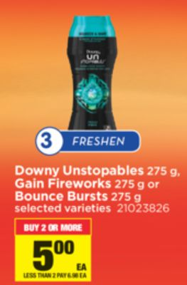 Downy Unstopables 275 g - Gain Fireworks - 275 g or Bounce Bursts - 275 g