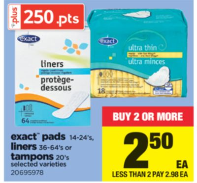 Exact Pads - 14-24's - Liners - 36-64's Or Tampons - 20's