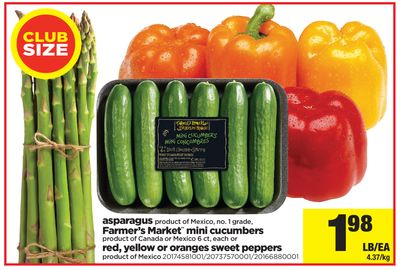 Asparagus - Farmer's Market Mini Cucumbers - 6 Ct - Each or Oranges Sweet Peppers