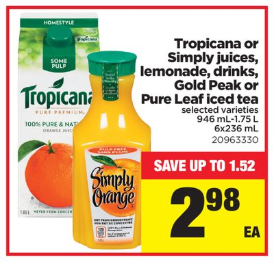 Tropicana Or Simply Juices - Lemonade - Drinks - Gold Peak Or Pure Leaf Iced Tea - 946 Ml-1.75 L - 6x236 mL