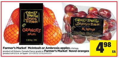 Farmer's Market Mcintosh Or Ambrosia Apples - 4 Lb Bag Or Farmer's Market Navel Oranges