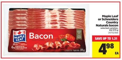 Maple Leaf Or Schneiders Country Naturals Bacon - 65/375 g