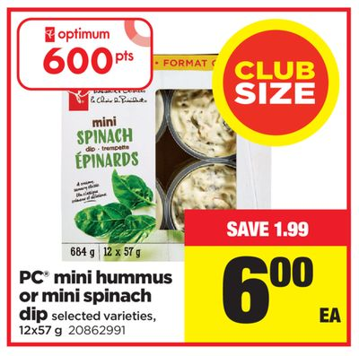 PC Mini Hummus Or Mini Spinach Dip - 12x57 g