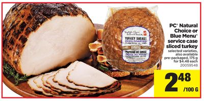 PC Natural Choice Or Blue Menu Service Case Sliced Turkey