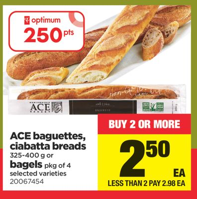 Ace Baguettes - Ciabatta Breads - 325-400 g Or Bagels - Pkg of 4