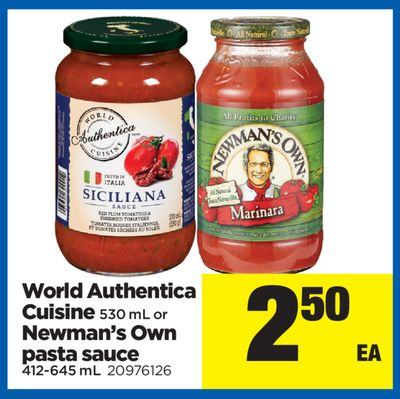 World Authentica Cuisine - 530 Ml Or Newman's Own Pasta Sauce - 412-645 Ml