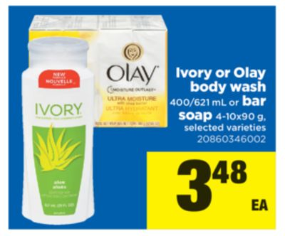 Ivory Or Olay Body Wash - 400/621 mL Or Bar Soap - 4-10x90 g